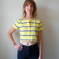 Yellow striped knit crop top 1990s by NighthawksVintage on Etsy