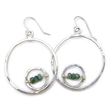 Large Double Circle Earrings with choice of gemstone