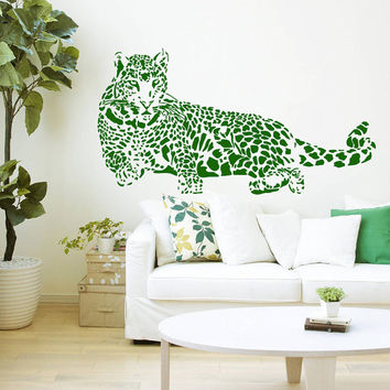 Wall Decal Vinyl Sticker Decals Art Home Decor Design Mural Leopard Print Wild Cat Wildcat Animals Panther Tiger Bedroom Bathroom Dorm AN98