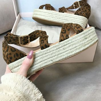 Right Time Leopard Strappy Platform Espadrilles