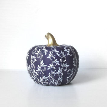 Pumpkin Hand painted Dark Purple and White ceramic pumpkin Purple Pumpkin