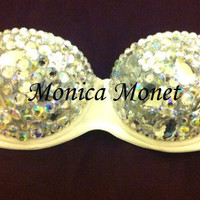 Gorgeous Crystal Angel Sexy Rave Bra Costume Burlesque Sequin Rhinestone Bling