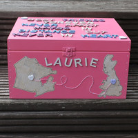 Personalised Best Friends keepsake box with maps added for emigrating or moving away
