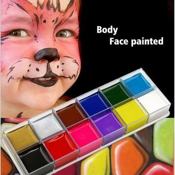festival World Cup body painting play clown Halloween makeup face paint  12 Color Body face painted Make up Flash Tattoo brush