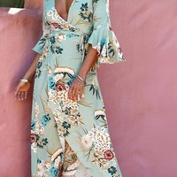 B| Chicloth V Neck Flared Sleeves Floral Printed Maxi Dress