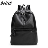 Bolish Travel Backpack Korean Women Femal Backpack Leisure Student Schoolbag Soft PU Leather Women Bag