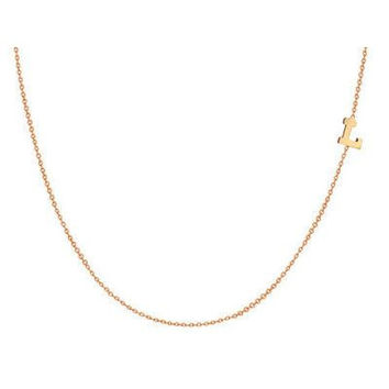 14K Gold Filled TINY Sideways Initial Necklace