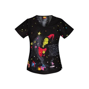 Cherokee Tooniforms Cindy Lous Christmas print top. - Uniform City