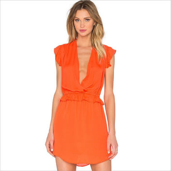 Orange Deep Plunge Sleeveless Ruffles Mesh Dress