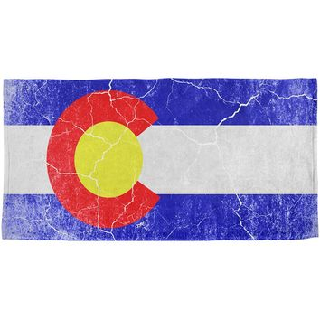 Colorado Vintage Distressed State Flag All Over Beach Towel