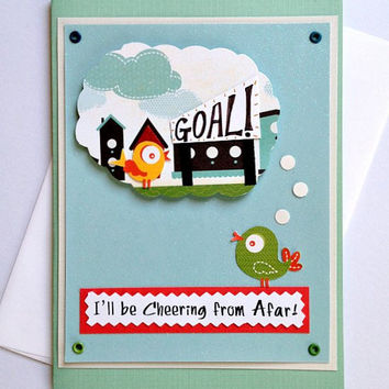 I'll Be Cheering From Afar Good Luck, Motivational, Encouragement Bird Greeting Card for Runners or Walkers (Blank Inside)
