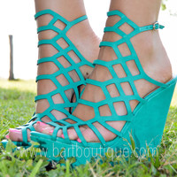 Turquoise Strappy Wedges