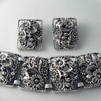 Vintage Chunky Silver Tone Floral Sarah Coventry Set