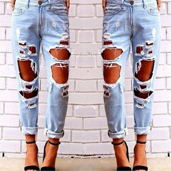 Free shipping 2017 New Slim Pencil Pants Sexy Women Destroyed Ripped Distressed Slim Denim Pants Boyfriend Jeans Trousers