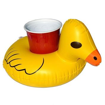 Mini Inflatable Yellow Duck Rainbow Pool Floating Toy Beverage Float Cup holder Swim Ring Party Toy Beach Child Adult