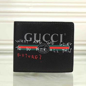 Gucci Men Leather Print Purse Wallet