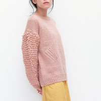 Pink fringe-knit boxy wool sweater custom handmade by Metaformose