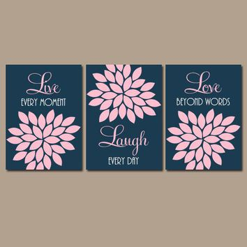 Pink Navy Nursery Wall Art, Live Laugh Love Wall Art, Baby Girl Nursery Decor, Bedroom Pictures, CANVAS or Prints Set of 3 Bathroom Decor