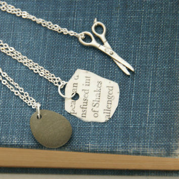 Rock Paper Scissors  Friendship Necklaces by TheBowedArrow on Etsy