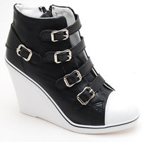 Wedges Trainers Heels Sneakers Platform High Top Ankles Boots Buckle Synthet