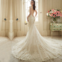 Vestido De Noiva Renda Vintage Lace Backless Wedding Dresses Bride Sexy Civil Mermaid Wedding Gowns Vestidos Casamento