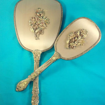 Dresser Set Mirror and Brush Vanity Set  Vintage Style Hand Mirror and Brush Set Shabby Chic