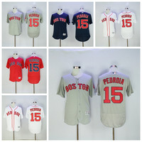 MLB Flexbase 15 Dustin Pedroia Jersey Boston Red Sox Baseball Jerseys Cheap Men All Stitched Cool Base White Blue Red Grey