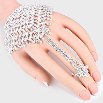 """Killer Combo"" Clear  Rhinestone Bracelet & Ring Combo On Silver Tone"