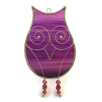 Purple Owl Suncatcher Stained Glass Window Decoration for Owl Lovers, Owlish creature of the night to bring a sunny glow to your living room