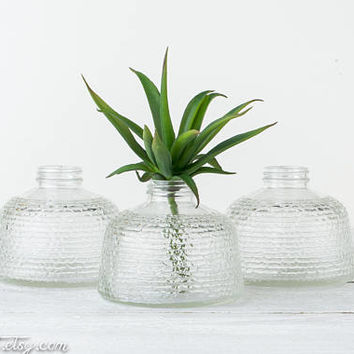 ONE Vintage Clear Glass Vase - Two Available - Anchor Hocking Textured Jar - Narrow Neck Vase - Vases for Wedding - Vases for Centerpieces