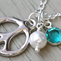 Peace Sign Necklace : Sterling Silver Plated Peace Sign Charm Necklace with White Swarovski Pearl and Blue Zircon Channel Drop