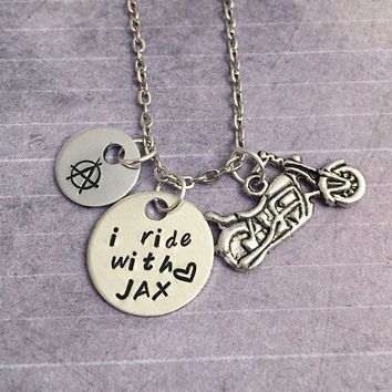 I Ride With Jax SOA Necklace - Jax Teller Jewelry - Fandom Necklace- Sons of Anarchy Inspired Jewelry - Handstamped Jewelry - Samcro