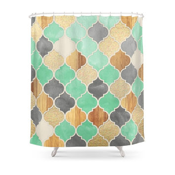 Society6 Charcoal, Mint, Wood & Gold Moroccan Pattern Shower Curtains
