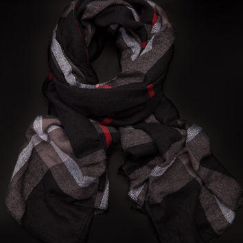 Through The Mountains Black Scarf