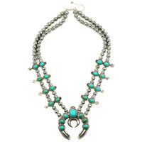Green 2016 Customized design most selling Pumpkin flower necklace, Vintage silver turquoise squash blossom necklace N21789