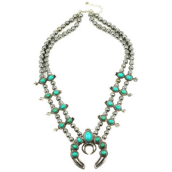 Black 2016 Customized design most selling Pumpkin flower necklace, Vintage silver turquoise squash blossom necklace N21789