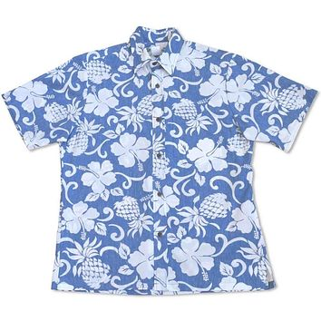 pineapple blue reverse print hawaiian cotton shirt