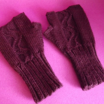 Knitted Fingerless Gloves - Knitted Fingerless Mittens - Knitted Wrist Warmers