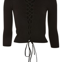 Lace Up Front Ribbed Knit Top