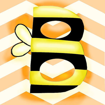 Nursery Art B is for Bee abc print orange chevron by wonderlaneart