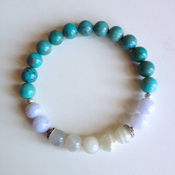 Astrology ~ Sagittarius Sign ~ Genuine Blue Lace Agate, Turquoise and Moonstone w/ Sterling Silver Caps & Hill Tribe Spacers