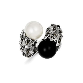 Sterling Silver Marcasite Black and White Cultured Pearl Ring