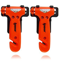2 PCS IPOW Car safety Antiskid Hammer Seatbelt Cutter Emergency Class/Window Punch Breaker Auto Rescue Disaster Escape Life-Saving Hammer Tool,Small