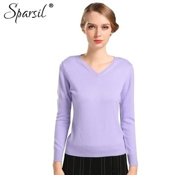Women Cashmere Sweater Spring Knitted Thin Pullovers Long Sleeve V-Neck Slim Knitwear Summer Knitted Sweaters