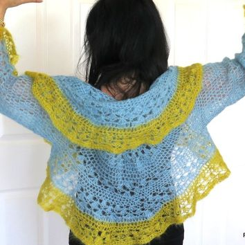 Light Blue Mohair Shrug, Crochet Circle Silk Shrug