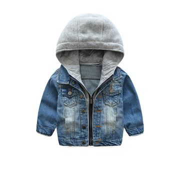 LILIGIRL Children Boys Casual Denim Jacket for Baby Girls Tops Clothes Coats 2018 Kids Hooded Blue Vintage Outwear Jeans Jackets