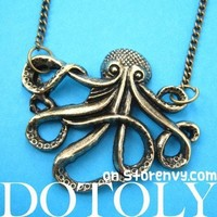 Large Octopus Sea Creature Pendant Necklace in Bronze | Animal Jewelry