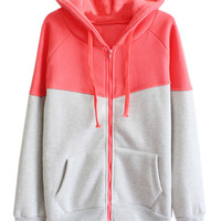Gray Zippered Drawstring Hoodie