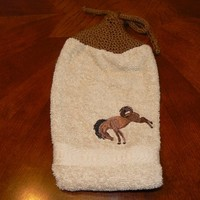 Embroidered Hanging Bronco Dish Towel with Handknit Topper and Ties