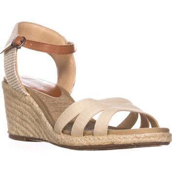 Lucky Brand Kylo Ankle Strap Espadrille Sandals, Beige, 9.5 US / 39.5 EU